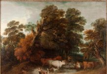 Thomas Gainsborough RA (1727–1788), Wooded Landscape with a Milkmaid, Rustic Lovers, and a Herdsman c.1775–1777. Oil on canvas. © Private Collection, courtesy of The Auckland Project.