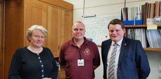 Helen Goodman MP with Spennymoor Cricket Club secretary Alan Jones and club president, Ian Geldard.