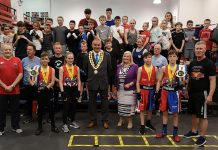 Spennymoor Town Mayor and Consort, Cllrs Clive and Liz Maddison congratulate Spennymoor's boxers on their recent MTK Box Cup success at Penrith.