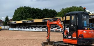 Spennymoor Town's Brewery Field pitch is being transformed ahead of the new season.