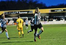 Glen Taylor celebrates after scoring against Chester on Saturday. Photo: David Nelson