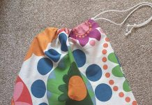A scrub bag, made by Learning Curve tutor, Rebecca Pattinson.