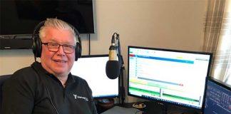 Bishop FM Saturday Brunch presenter, Peter Rush in his home studio