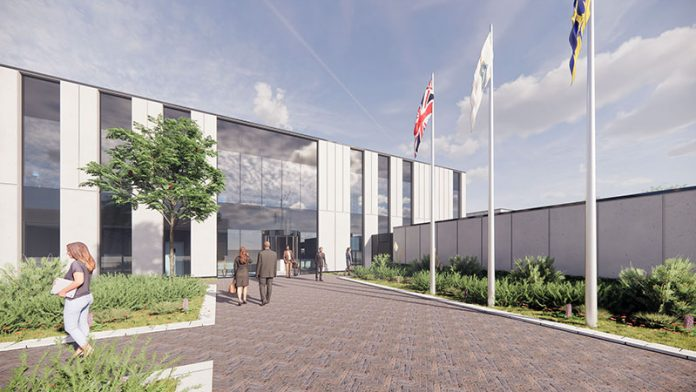An architect's impression of the entrance to the proposed new custody and investigations suite at DurhamGate, near Spennymoor.