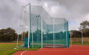 Throw cage at Shildon athletics stadium.